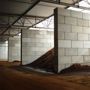 Legioblock´s concrete construction system offers a flexible solution for bulk material storage